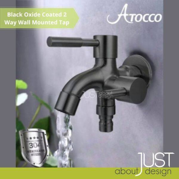 Ready Stock Black Oxide Coated 304 Stainless Steel Two Way Wall Mounted Faucet Basin Tap Washing Machine Tap
