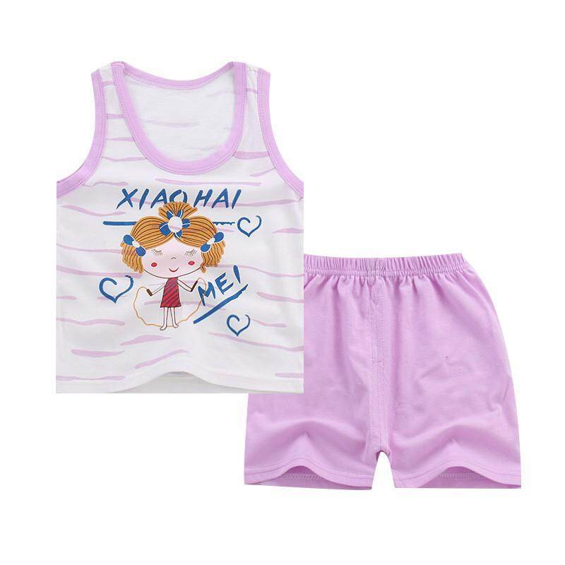 Summer Boy Girl Baby Sleeveless Cartoon Pattern Vest Top Shorts 2 Pcs Outfits Clothes Set