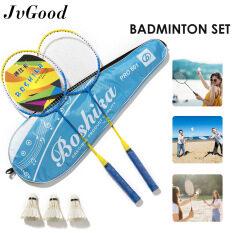 JvGood Bộ Vợt Cầu Lông 3 Trong 1 Bộ Vợt Cầu Lông Badminton Set Gia Đình Chất Lượng Cao Cấp Bộ Vợt Cầu Lông Chuyên Nghiệp Cho Người Mới Bắt Đầu Luyện Tập Với 3 Quả Bóng Và Hộp Đựng Đồ Tập Thể Dục