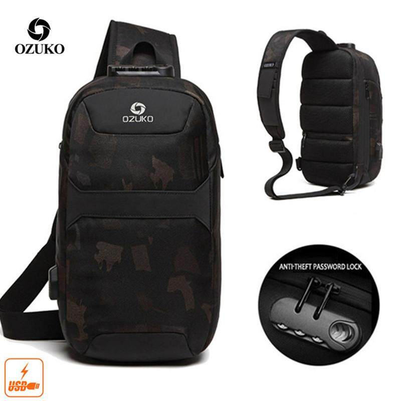 OZUKO USB Anti-theft 9.7-Inch Chest Bag Multifunctional Crossbody Bag Fashion Short Trip Travel Bag Casual Messenger Bag for men