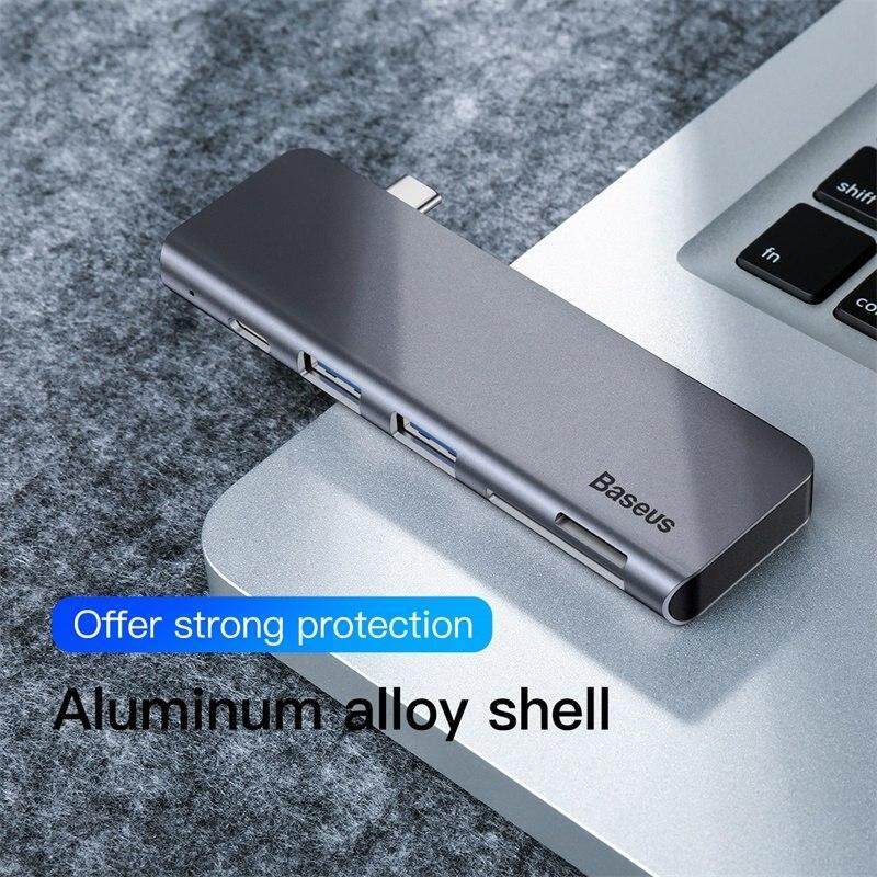 Baseus Gray 5 in 1 HUB Adapter USB Type C to USB 3.0*2 / SD / TF for Macbook Pro Computer Accessory with Type C PD Power Supply