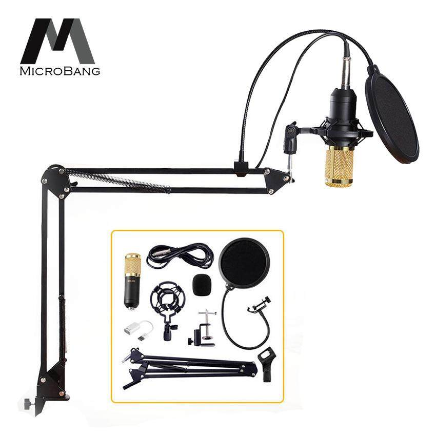 MicroBang Condenser Microphone Stand Broadcasting & Recording Microphone Set Stand with Adjustable Mic Suspension Scissor Arm Shock Mount Clamp and Double-layer Pop Filter for Studio Recording & Broadcasting Computer PC Microphone Kit