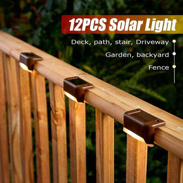 12PCS Solar Powered LED Deck Lights Outdoor Garden Stairs Step Fence Lamp