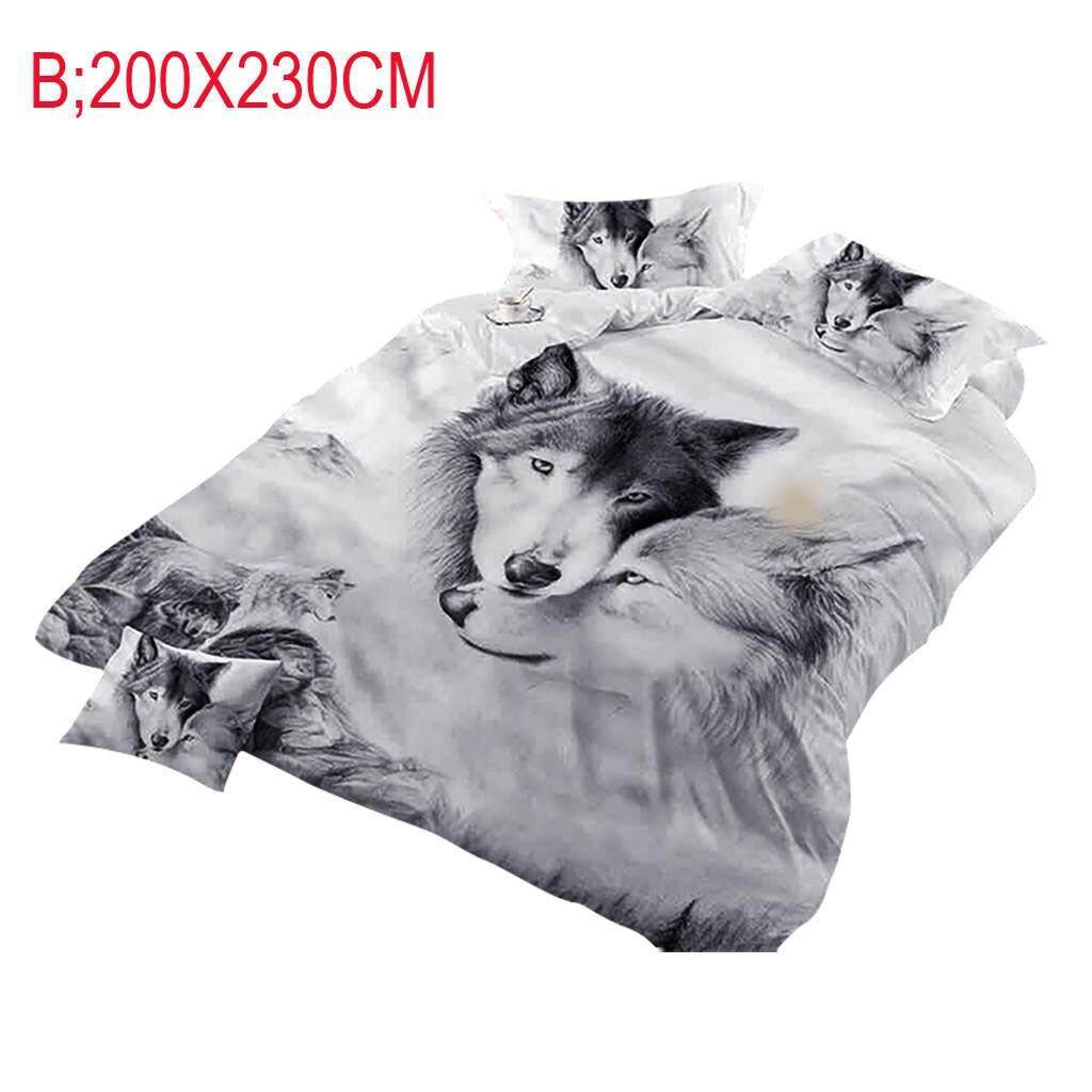 Malonestore  Wolf Couples Bedding Kids 3D Bedding Cool Grey Wolf Duvet Cover Set 3 Pcs 3D Painting Duvet Cover