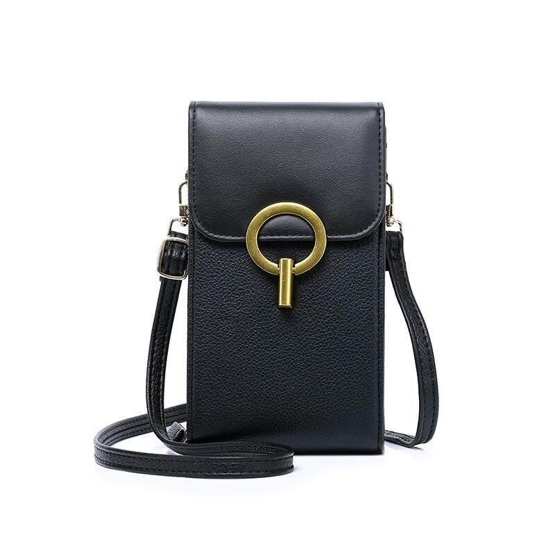 Fashion Zippers Women Mini Messenger Bag Mobile Phone Bags Coin Pocket Women Leather Small Female Shoulder Handbags Crossbody Bags Wrist Handbag Cash Card Bag