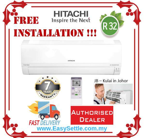 Hitachi RAS-EH10CKM/RAC-EH10CKM 1.0hp R32 - FREE INSTALLATION - Wall Mount Single Split Air-conditioner (2019 New Model)