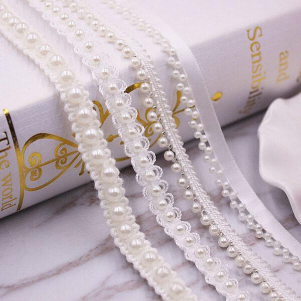 Dây ruy băng đính cườm ngọc trai tiện dụng viền trang trí váy cưới