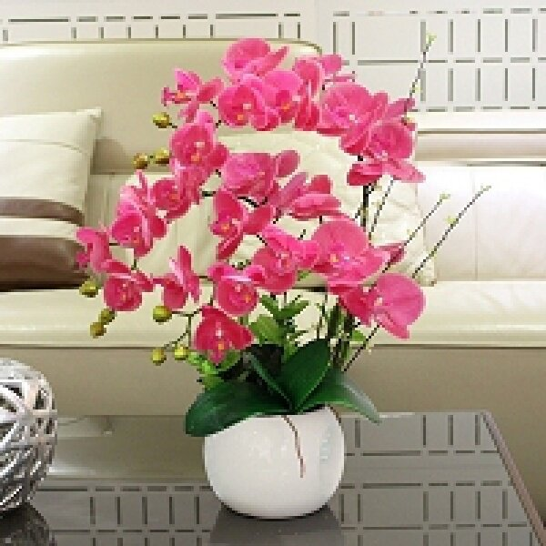 Living Room Of Pu Imitation Flower Phalaenopsis Set Is Decorated With Integral Interior Decoration, Plastic Flower And Orchid Fake Potted Plant