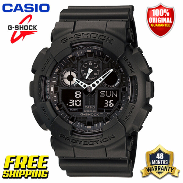 New 100% Original Casio G-Shock GA100 Men Sport Watch Dual Time Display 200M Water Resistant Shockproof and Waterproof World Time LED Auto Light Gshock Man Boy Sports Wrist Watches with 4 Years Warranty GA-100-1A1 Black (Ready Stock and Free Shipping) Malaysia