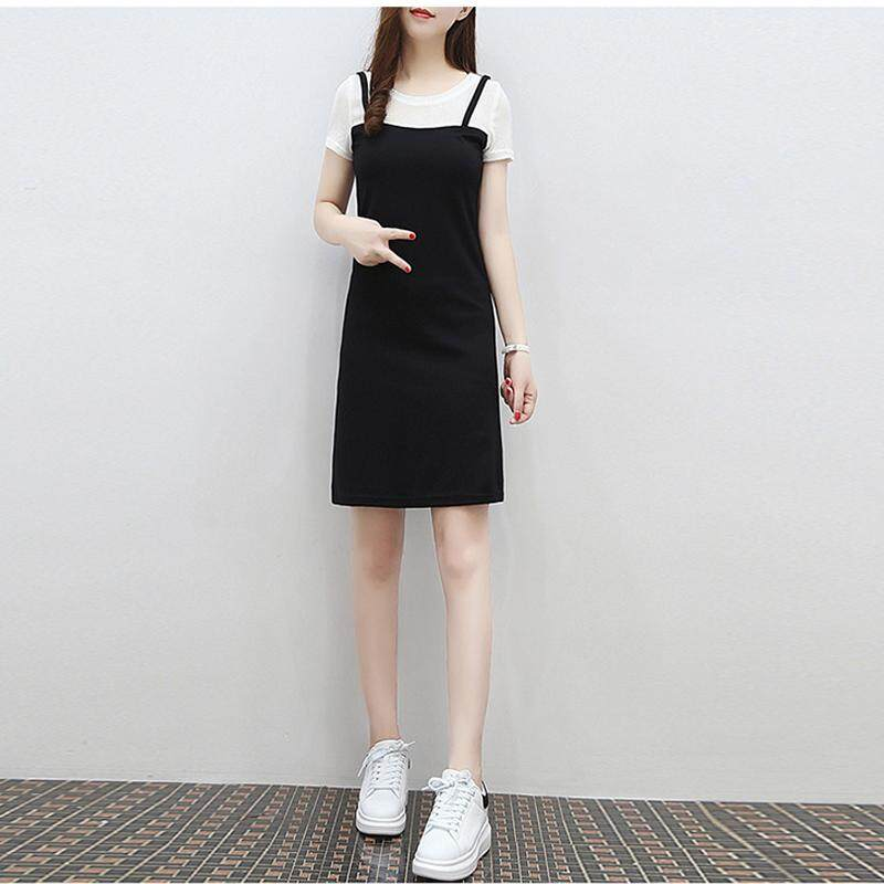 RD Women Simple False 2 Pieces Round Neck Sling Dress f99d0af71