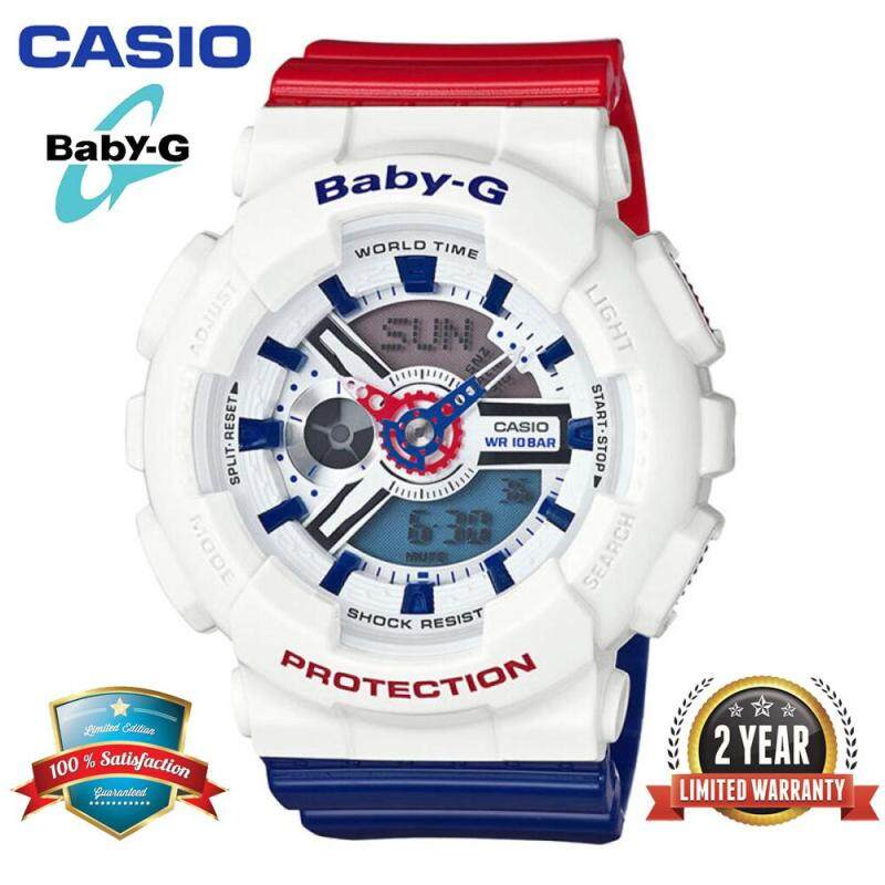 (Ready Stock) Original Baby G BA-110TR-7A Women Sport Watch Duo W/Time 100M Water Resistant Shockproof and Waterproof World Time Autolight Girl Wrist Sports Watches BA110/BA-110 White Blue Red Malaysia