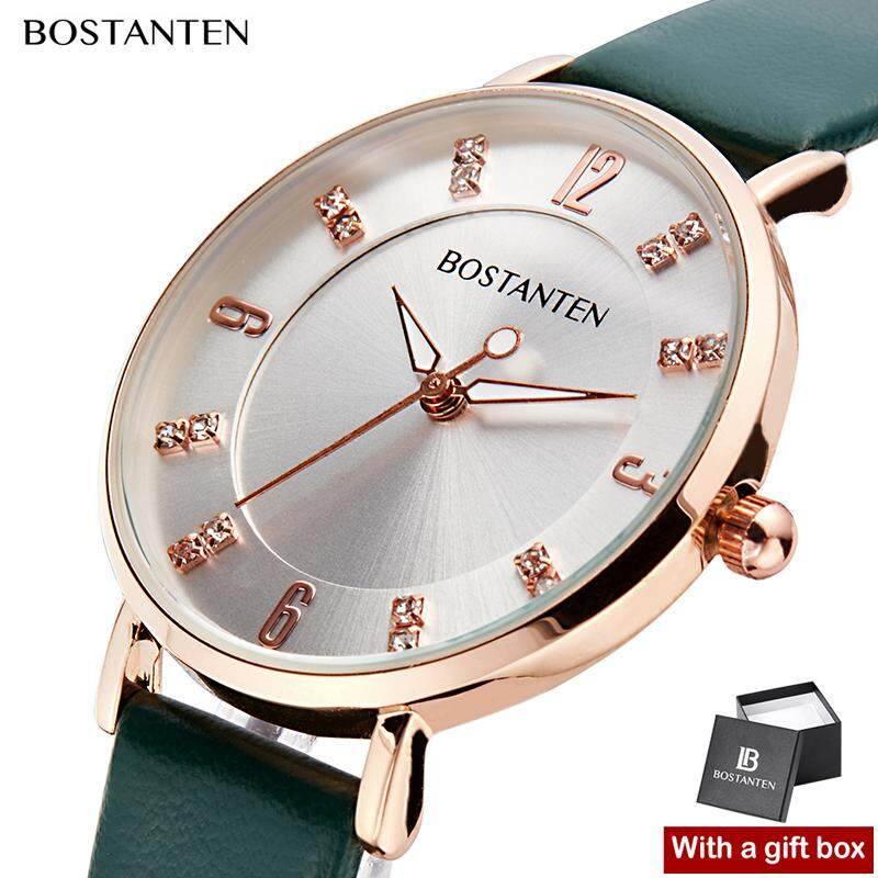 Bostanten Fashion Leather Watch for women Gem Dial Womens watches Quartz Original Casual Ladies Wristwatches Free Box-3132K Malaysia