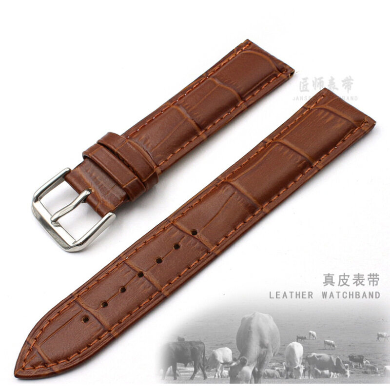 14mm Width  cow Leather Wristwatch Watch Band Strap Watchband Stainless Buckle (Brown ) Malaysia