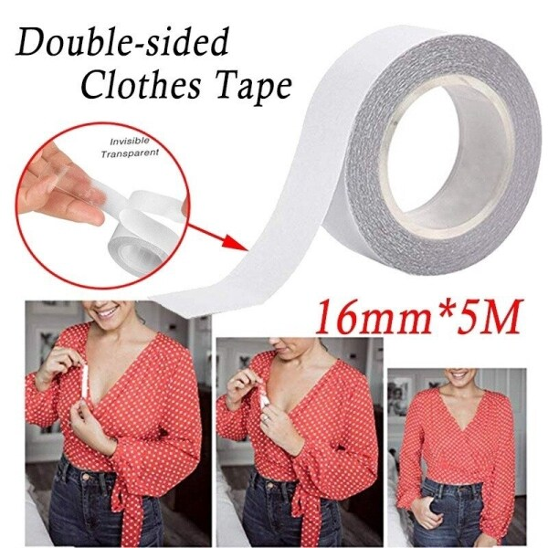 5M Waterproof Clothing Cloth Tape Sticker Double Sided Secret Body Bra Strip Safe Transparent Clear Lingerie Tape