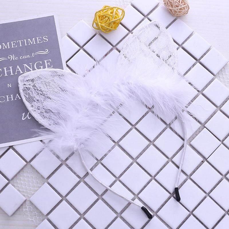 Women Girl Bunny Kitty Cat Ear Party Lace Crochet Party Hair Head Band Hoop US