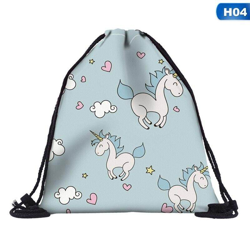 b4865f265045 Fancyqube 3D Printed Unicorn Drawstring Bag Women Makeup Organizer Storage  Bag Beam Port Travel Bag Clothes Backpack
