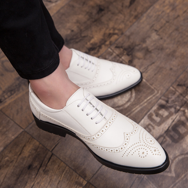 Wedding shoes men white Leather shoes