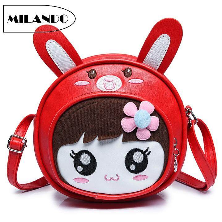Kid Girl Cartoon Design Handbag Sling Bag Backpack (rabbit Ear) By Milando.