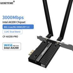 KEBETEME Băng Tần Kép 3000Mbps Để Bàn Không Dây PCI-E Cho Intel AX200 Pro Thẻ 802.11a AX 2.4G/5Ghz Bluetooth 5.0 PCI Express WiFi 6 Adapter