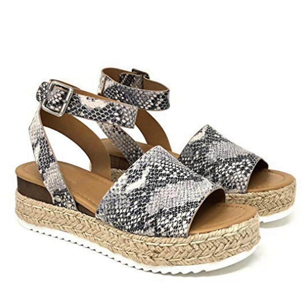 3359f0ff71 Auburyshop Womens Open Toe Ankle Pumps Straw Thick Bottom Shoes Snake Grain  Roman Sandals【Reference