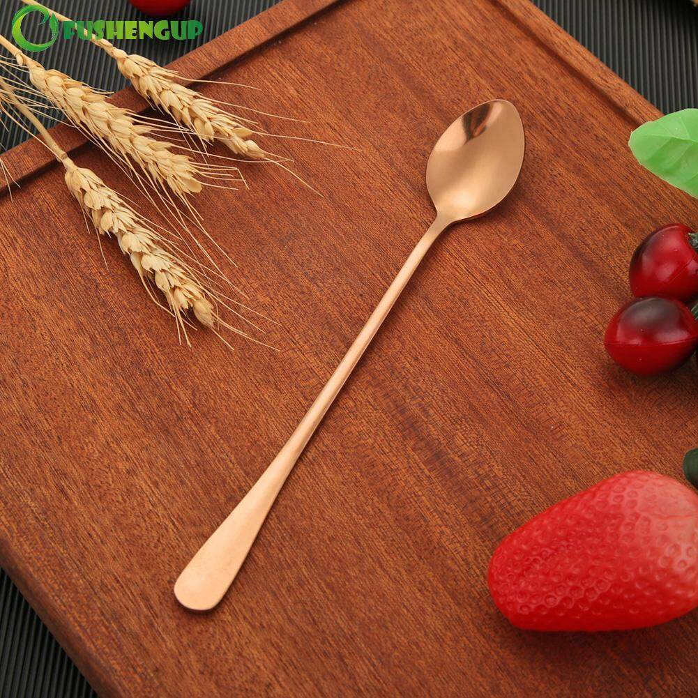 Stainless Steel Long Handle Stirring Ice Spoon Coffee Tea Spoons Tableware