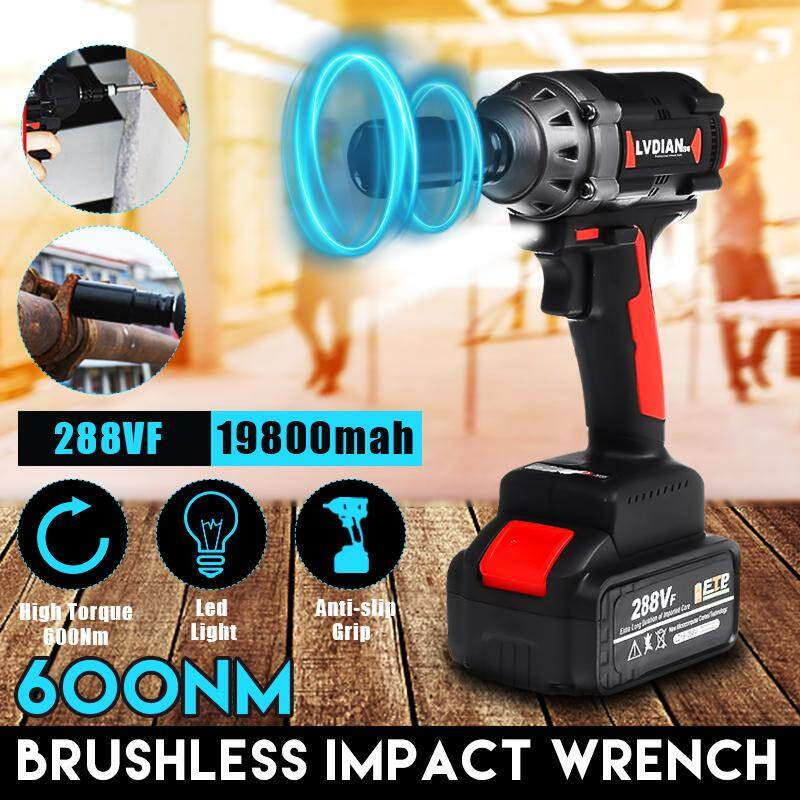 288VF Torque 500N.M Cordless Brushless Motor Impact Wrench Battery Rattle