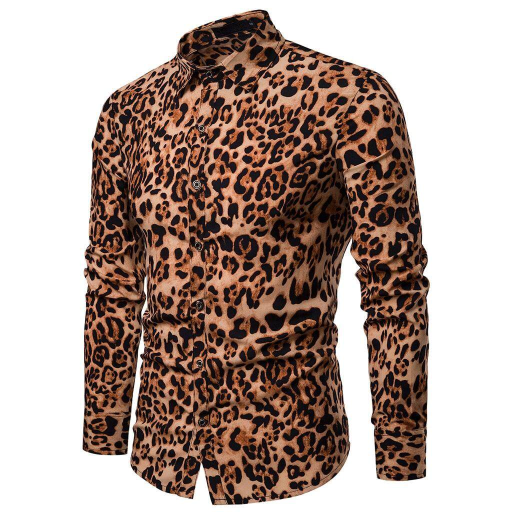 a9ef77f0629 beautier Men s Spring Casual Slim Fit Shirts Leopard Print Long Sleeve Shirt  Top Blouse