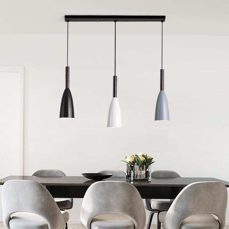 Nordic Style Modern Minimalist Black and White Gray Single Head Chandelier Creative Bar Restaurant Ceiling Lamp Office Bedside LED Chandelier