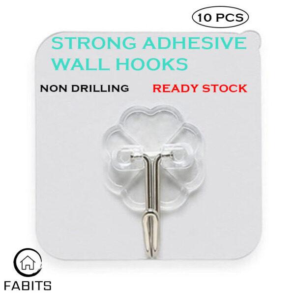 [FABITS] 10PCS Wall Hook Magic Hook Adhesive Hook Hanger Wall Hanger Strong Hook No Drilling Hook