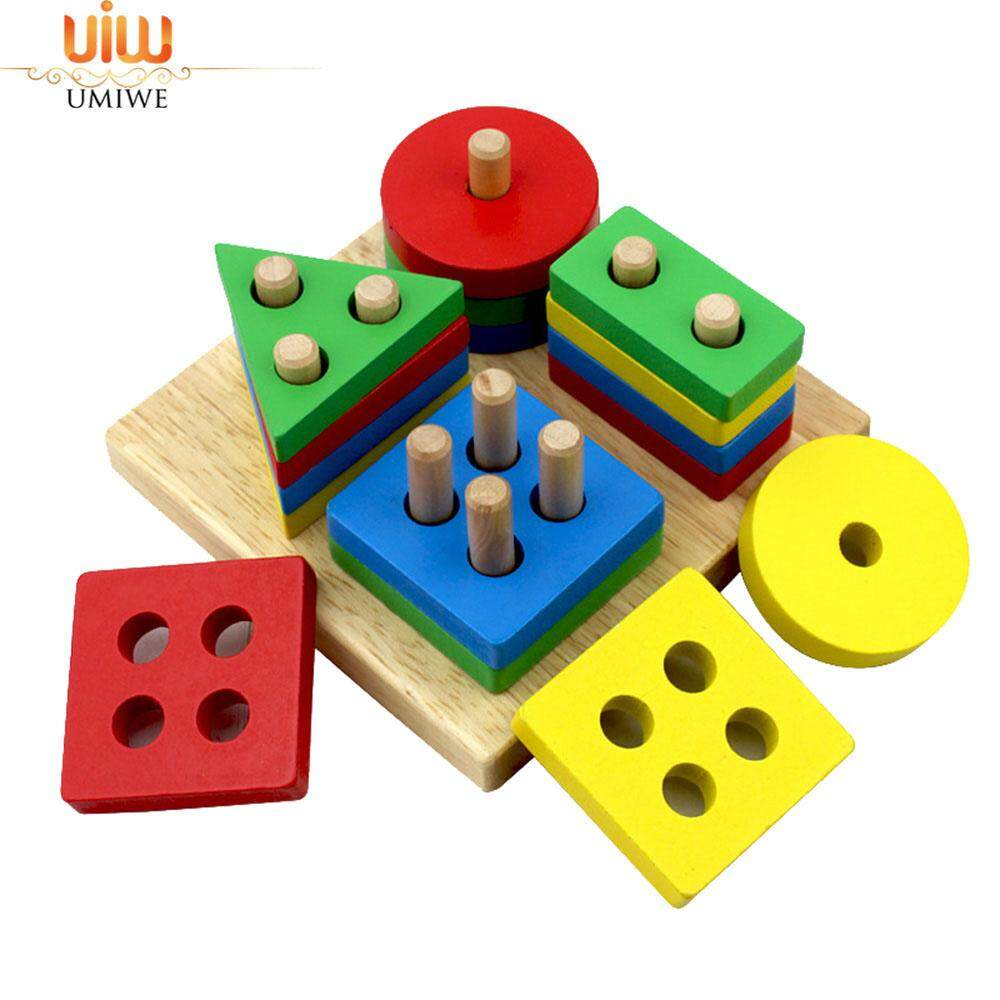 Umiwe Kids Educational Preschool Shape Color Recognition Toys Wooden Geometric Board Block Stack Sort Chunky Children Puzzle Toys