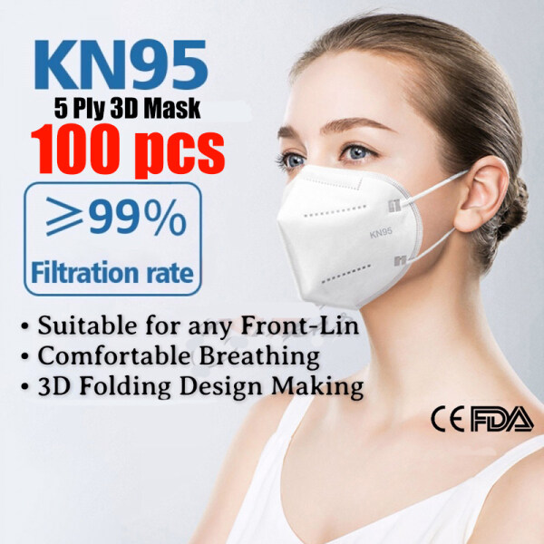 100pcs KN95 Face Mask 5 Layer Non-woven Protection PM2.5 5ply Filter 3D Anti Dust Anti Fog and Smoke Washable Clothmade In Korea N95 Facemask with Design Original 50 Pcs Single Facial K N 95 KF94口罩
