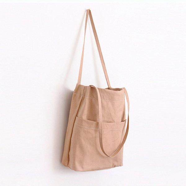 Top Sell High Quality Shoulder Tote Bag Premium Cotton Canvas Shopping Shoulder With Outer Pocket School Bag Simple