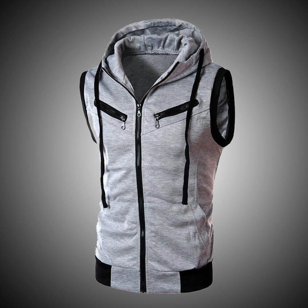 Men Sport Hoodie Sleeveless Zipper Jacket Hooded Casual Waistcoat Tops Vest Coat