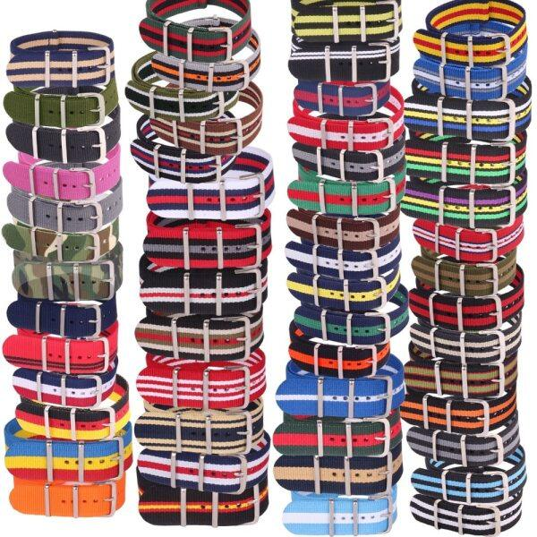 10pcs Wholesale Lot Stripe Retro 22 mm Strong Military Woven Army nato fabric Nylon Watch Strap Band Buckle 22mm watchband Malaysia