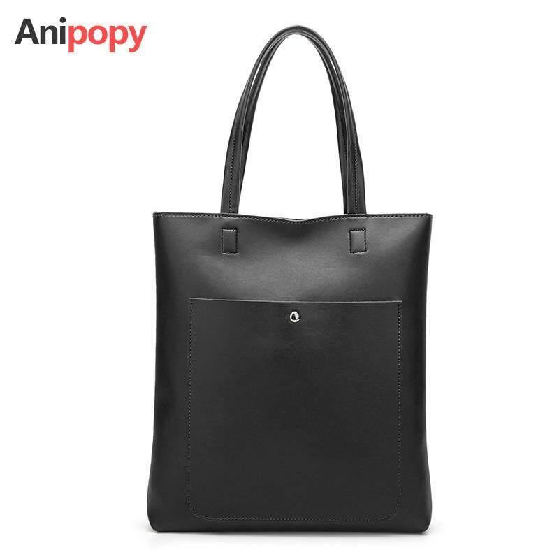 Anipopy Elegant Korean Style PU Leather Large Tote Bag Women Handbag Shoulder Bag