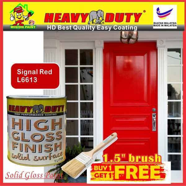 L6613 SIGNAL RED 1L ( FREE 1.5 in Brush ) HEAVY DUTY High Gloss Finish Paint for Wood & Metal