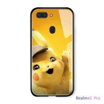สำหรับ Realme 2 Pro มอนสเตอร์กระเป๋าการ์ตูน Pokémon นักสืบโปเกมอน Pikachu กันกระแทกกระจกเทมเปอร์กลับเคสโทรศัพท์-
