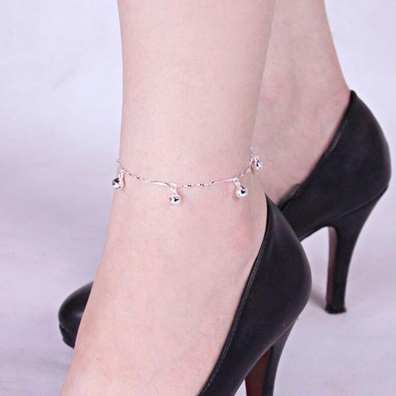 Vòng chân mắt cá chân chuông Pentagram mạ bạc 925 dành cho nữ, chiều dài 20 + 2.5cm - INTL