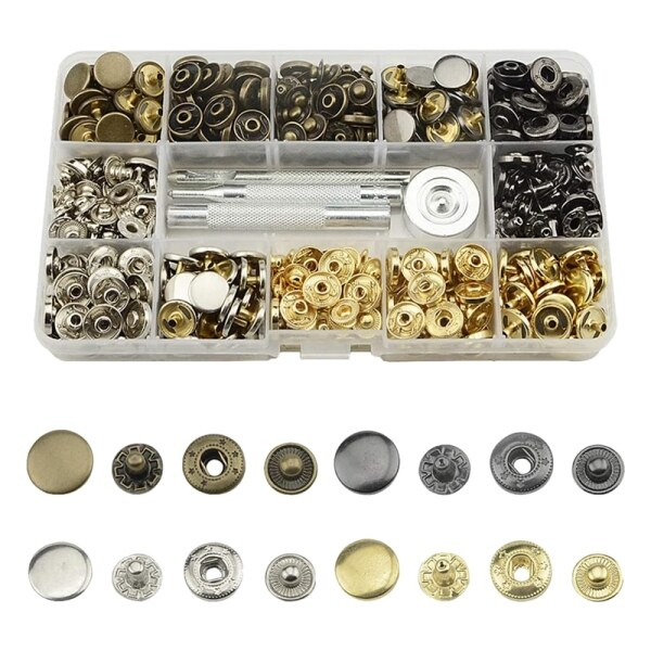 64Pcs Leather Snap Fasteners Kit 12.5Mm Metal Button Snaps Press Studs 4 Installation Tools 4 Color Leather Snaps for Clothes Jackets