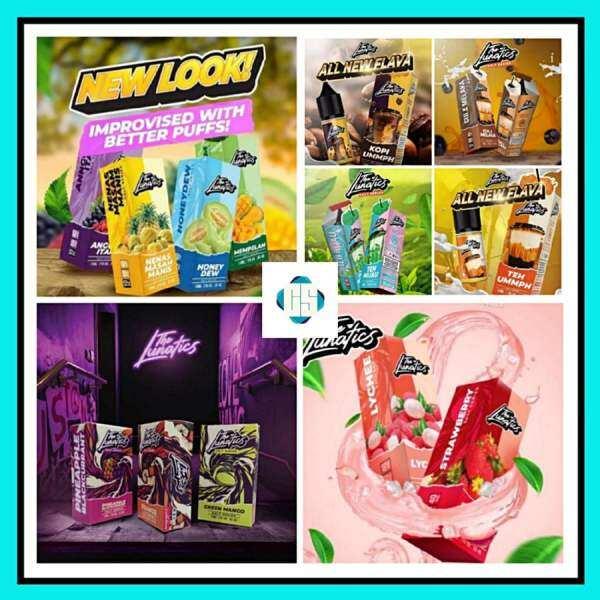 The Lunatics Salt Mempelam / Nenas Masam Manis / Anggur Hitam / Honeydew / Gula Melaka / Teh Hijau / Green Mango / Orange / Strawberry / Lychee E-Juice 10ML Malaysia