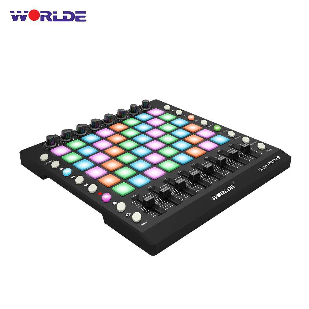 WORLDE PAD48 Portable USB MIDI Drum Pad Controller 48 RGB Backlit Pads 8  Knobs 16 Buttons 8 Sliders with USB Cable