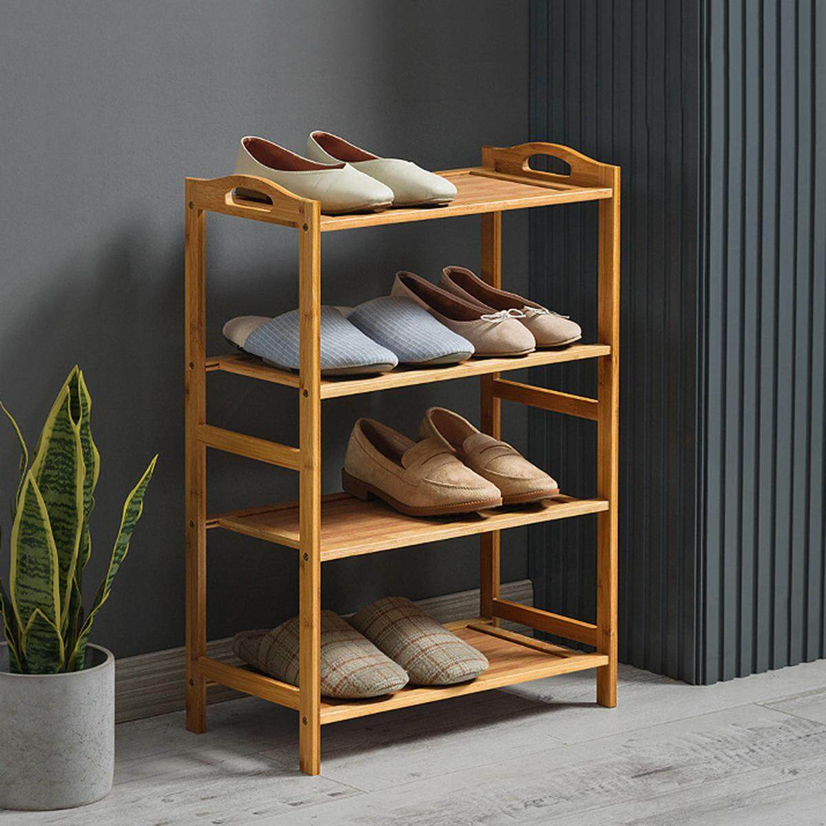 Mu Ma Ren 4 Tiers 70cm Length Bamboo Shelf Bookcase Plant Flower Shoes Stand Rack Storage Shelves Organiser Renting/Decoration