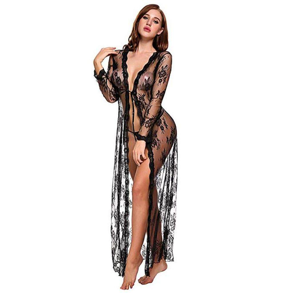 254478cbc7 beautier Lingerie for Women Long Lace Dress Sheer Gown See Through Kimono  Robe