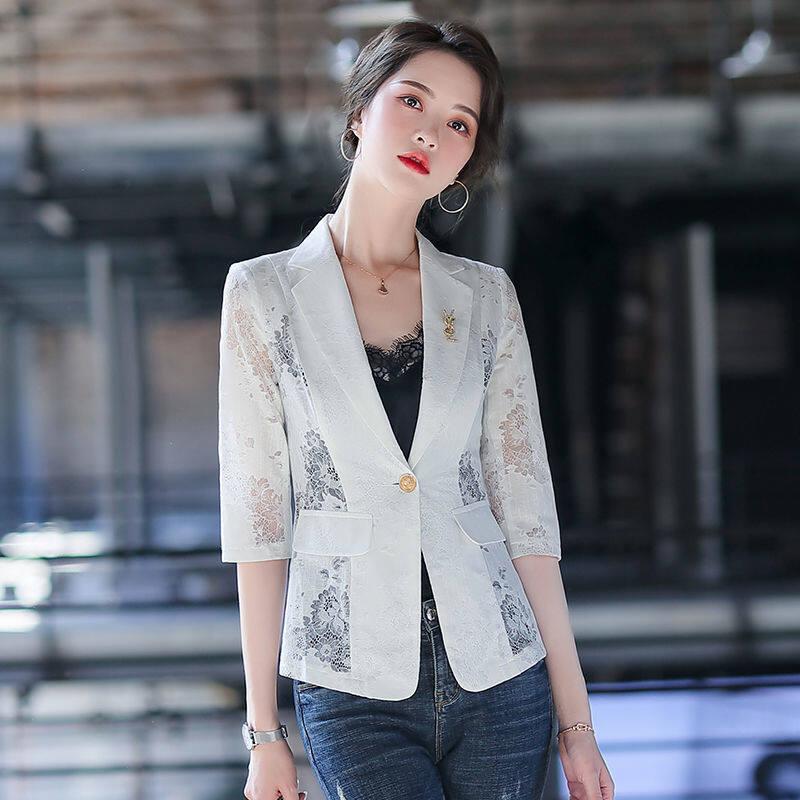 Áo Khoác Blazer Ren Nhỏ Áo Khoác Mỏng Nữ Tay Joker Thời Trang Hàn Quốc Mới Hè 2021, Nữ