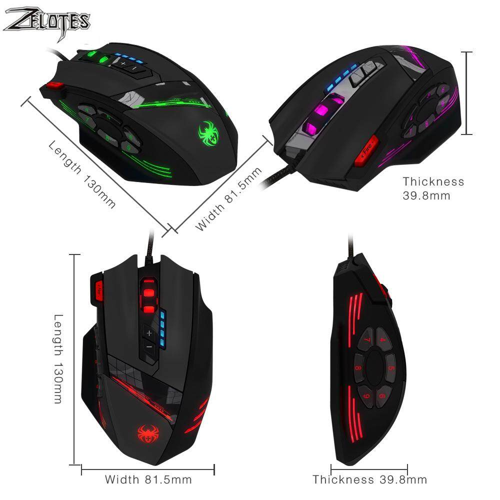 Game Mice 4 Adjustable DPI 7 LED Lights C-12 Wired Mouse USB Optical 12 Programmable Buttons Computer