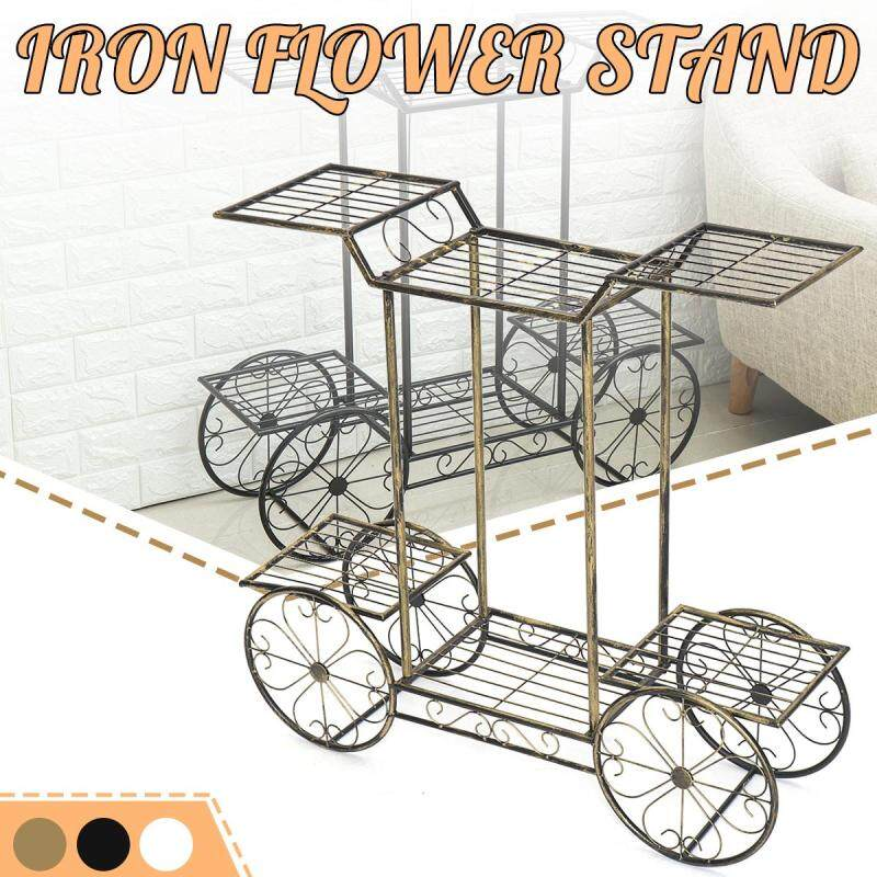 Plant Stand Metal Flower Pot Garden Shelf Outdoor Indoor Bicycle Display Rack