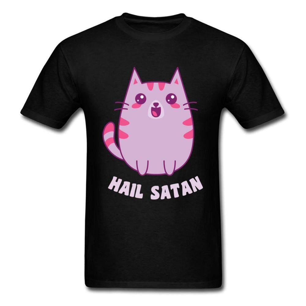 b3f32dbfee Kawaii Satanic Cat Pink Kitten Printed T Shirts Mens High Quality Cartoon  90's Style Casual Tee