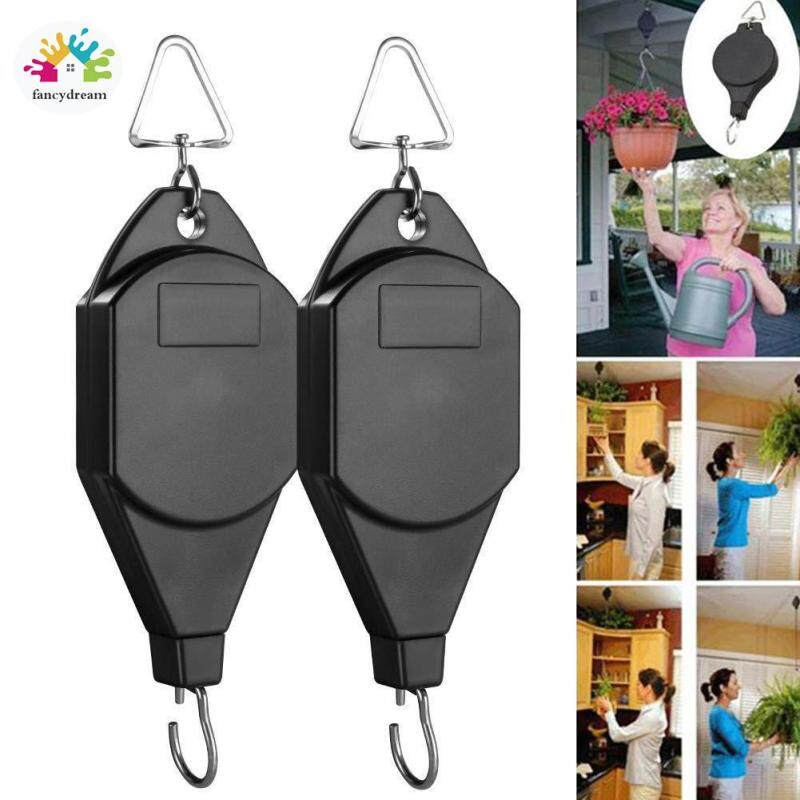 fancydream 1 Pair Retractable Pulley Hanging Flower Basket Hook Pull Down Hanger for Garden
