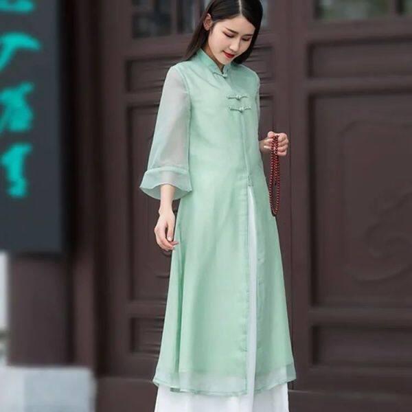 Váy Trà Mới Hai Mảnh Sửa Đổi Han Váy Đầm Sườn Xám Mỏng Cổ Điển Cho Nữ Bộ Quần Ống Rộng