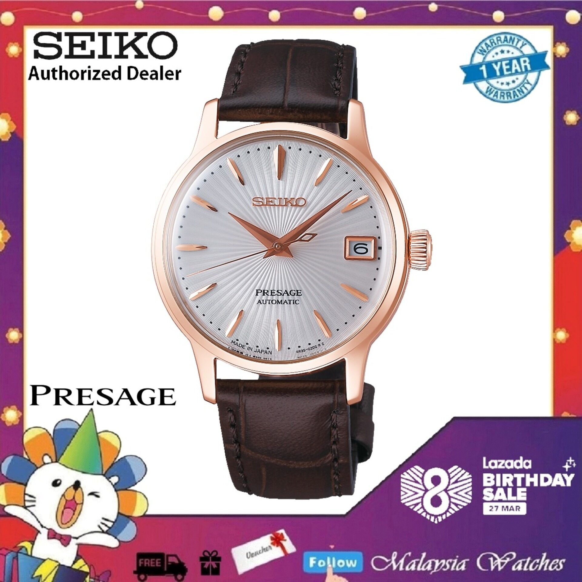 Seiko Ladies Presage Cocktail SRP852J1  Bellini  Rose Gold Automatic Brown Leather Watch Malaysia
